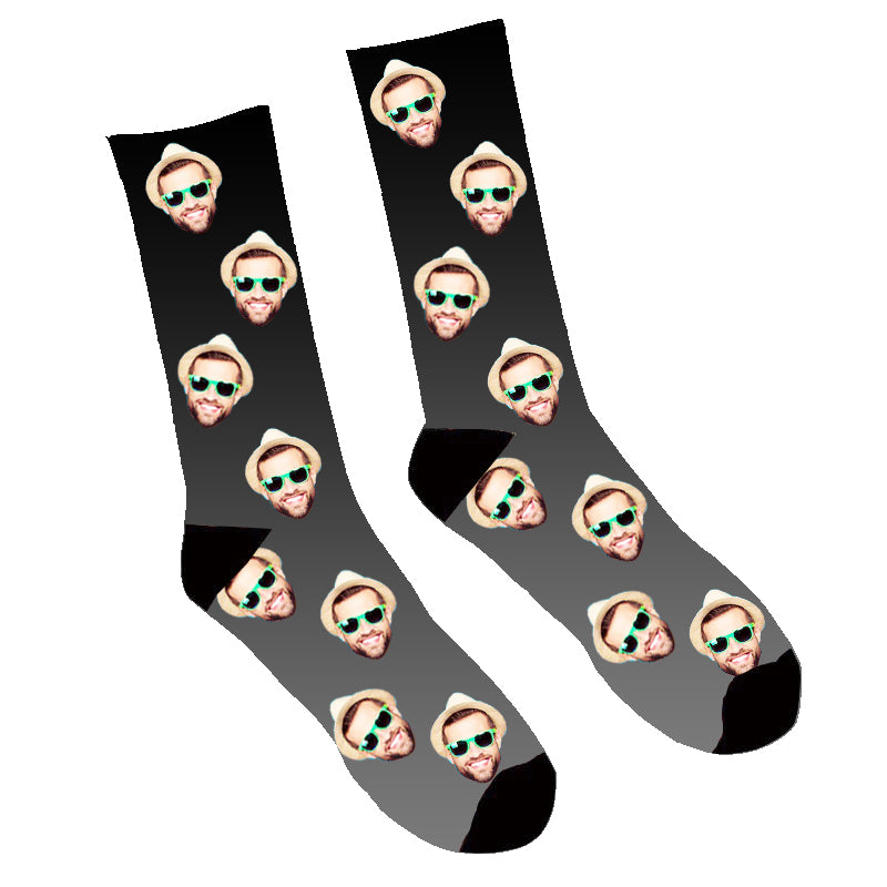 Custom Face Socks Gradient Black