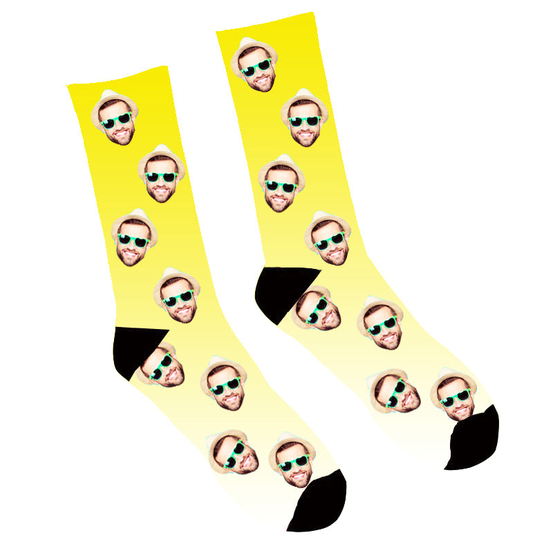Custom Face Socks Gradient Yellow - Make Custom Gifts