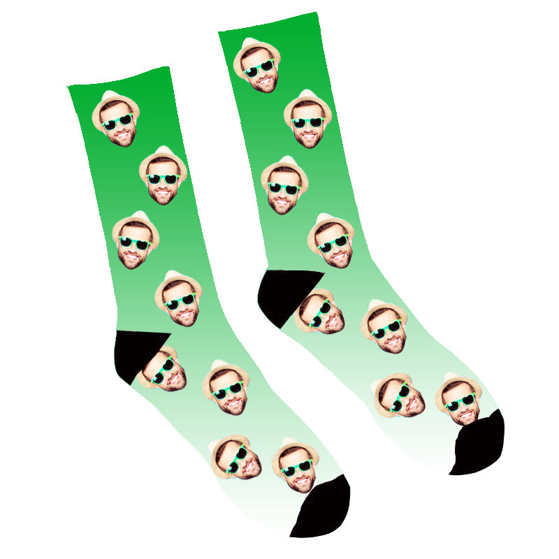 Custom Face Socks Gradient Green - Make Custom Gifts