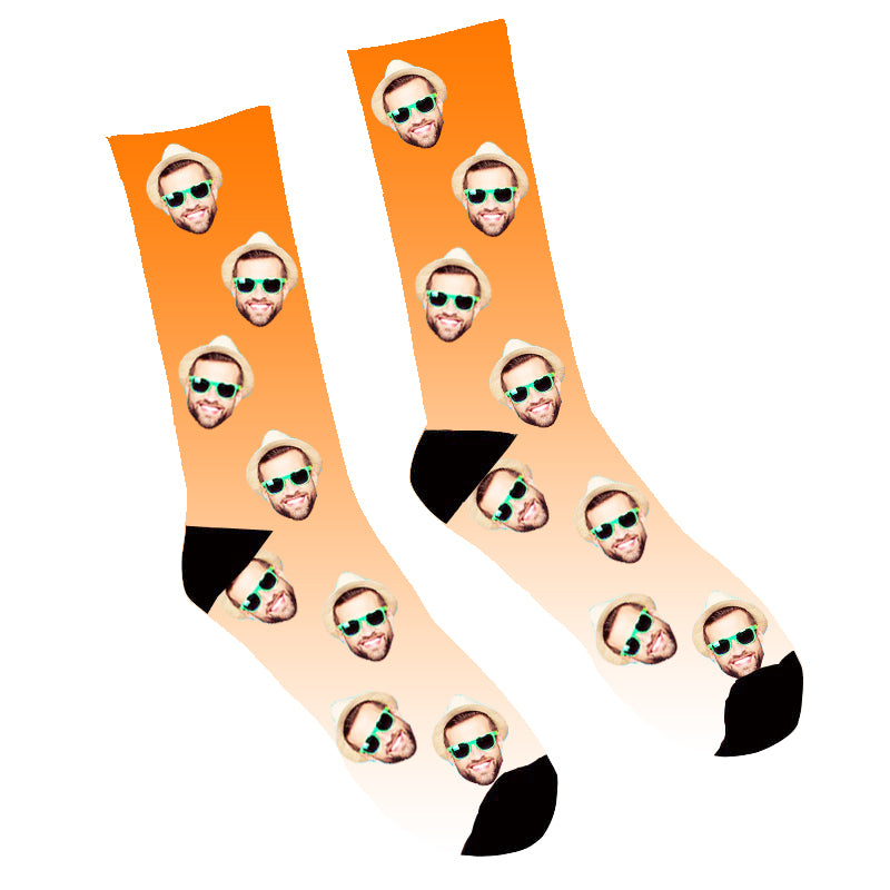 Custom Face Socks Gradient Orange - Make Custom Gifts