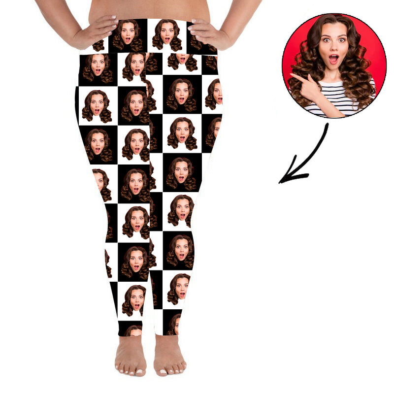 Custom Photo Leggings Black And White Personalized Face Leggings Plus Size - Make Custom Gifts