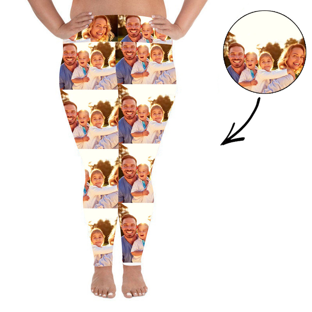 Custom Photo Leggings Whole Photo Personalized Face Leggings Plus Size - Make Custom Gifts
