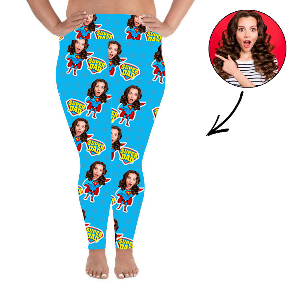 Custom Photo Leggings Super Dad Personalized Face Leggings Plus Size - Make Custom Gifts
