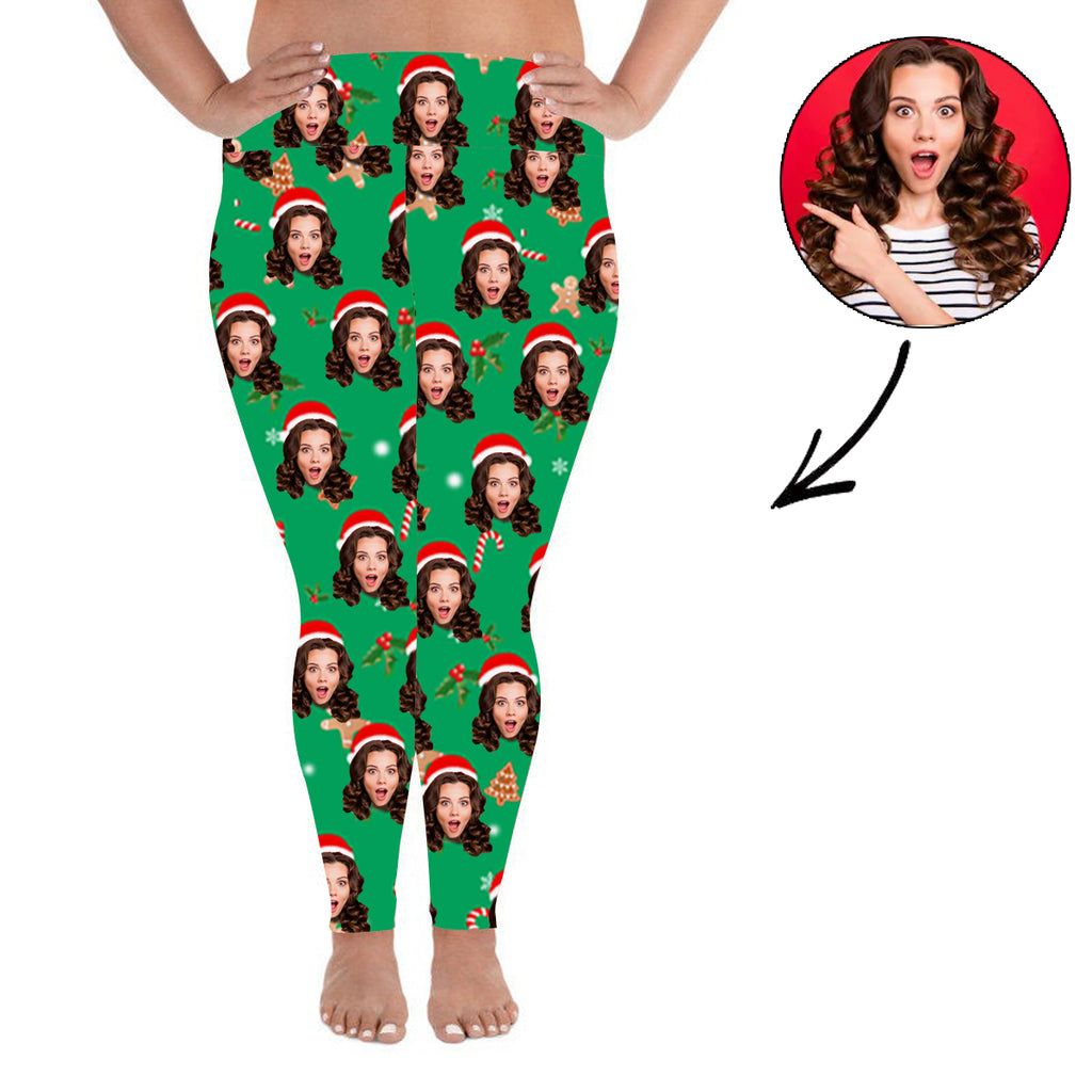 Custom Photo Leggings Merry Christmas Personalized Face Leggings Plus Size - Make Custom Gifts