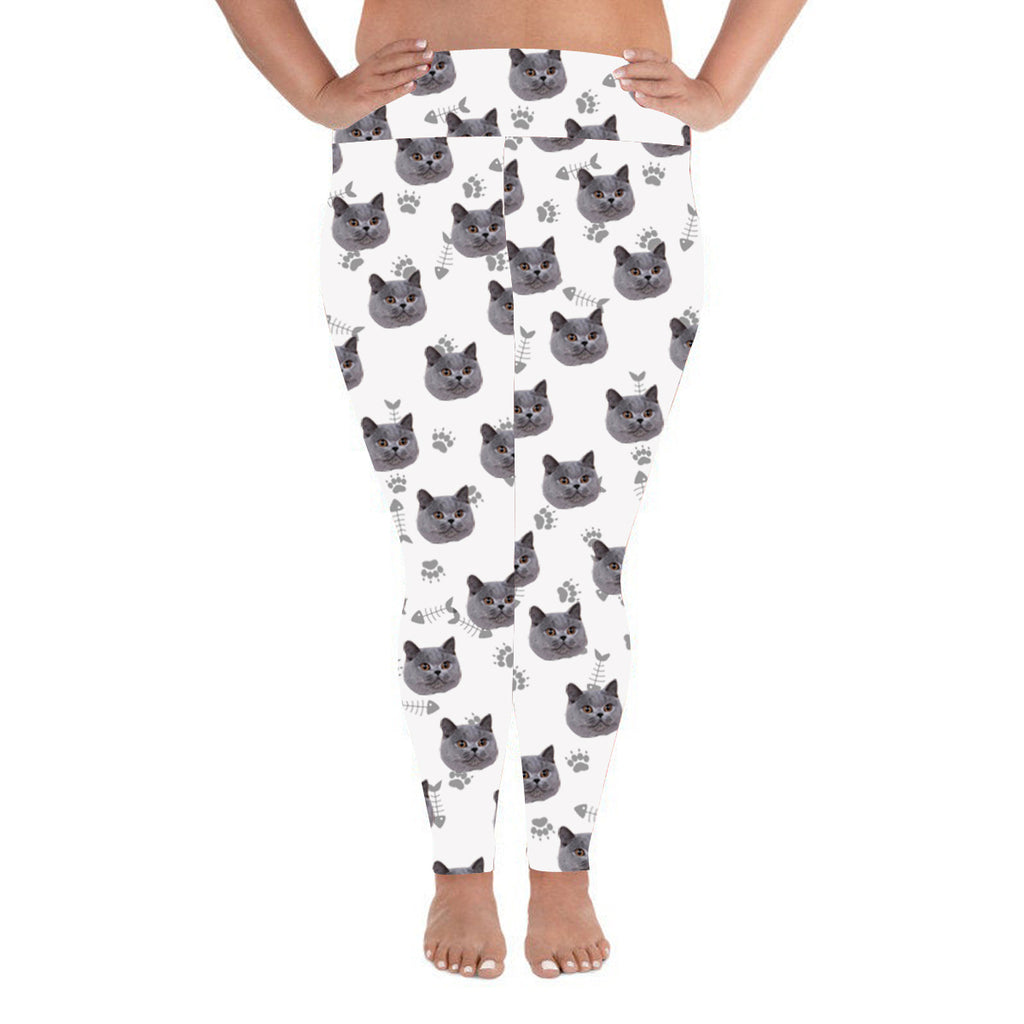 Custom Photo Leggings Cat Footprint Personalized Face Leggings Plus Size White - Make Custom Gifts