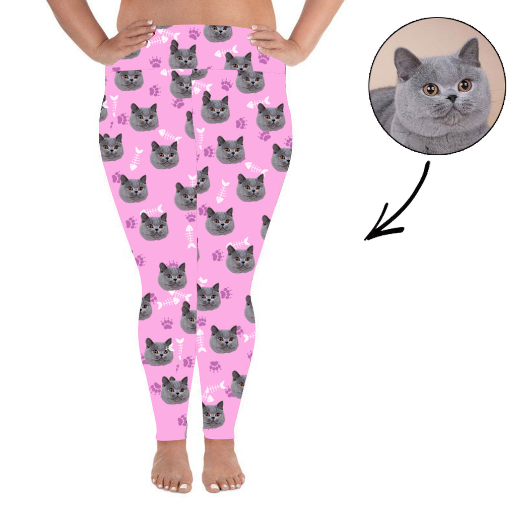 Custom Photo Leggings Cat Footprint Personalized Face Leggings Plus Size Pink - Make Custom Gifts