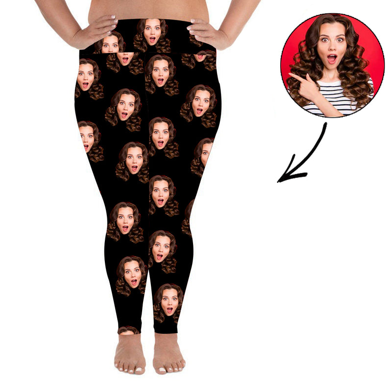 Custom Photo Leggings Heart Personalized Face Leggings Plus Size Black