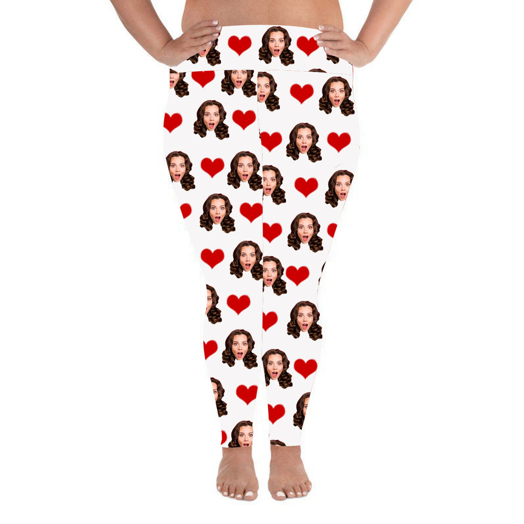 Custom Photo Leggings Heart Personalized Face Leggings Plus Size White - Make Custom Gifts