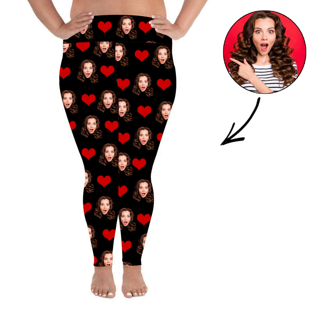 Custom Photo Leggings Heart Personalized Face Leggings Plus Size Black - Make Custom Gifts