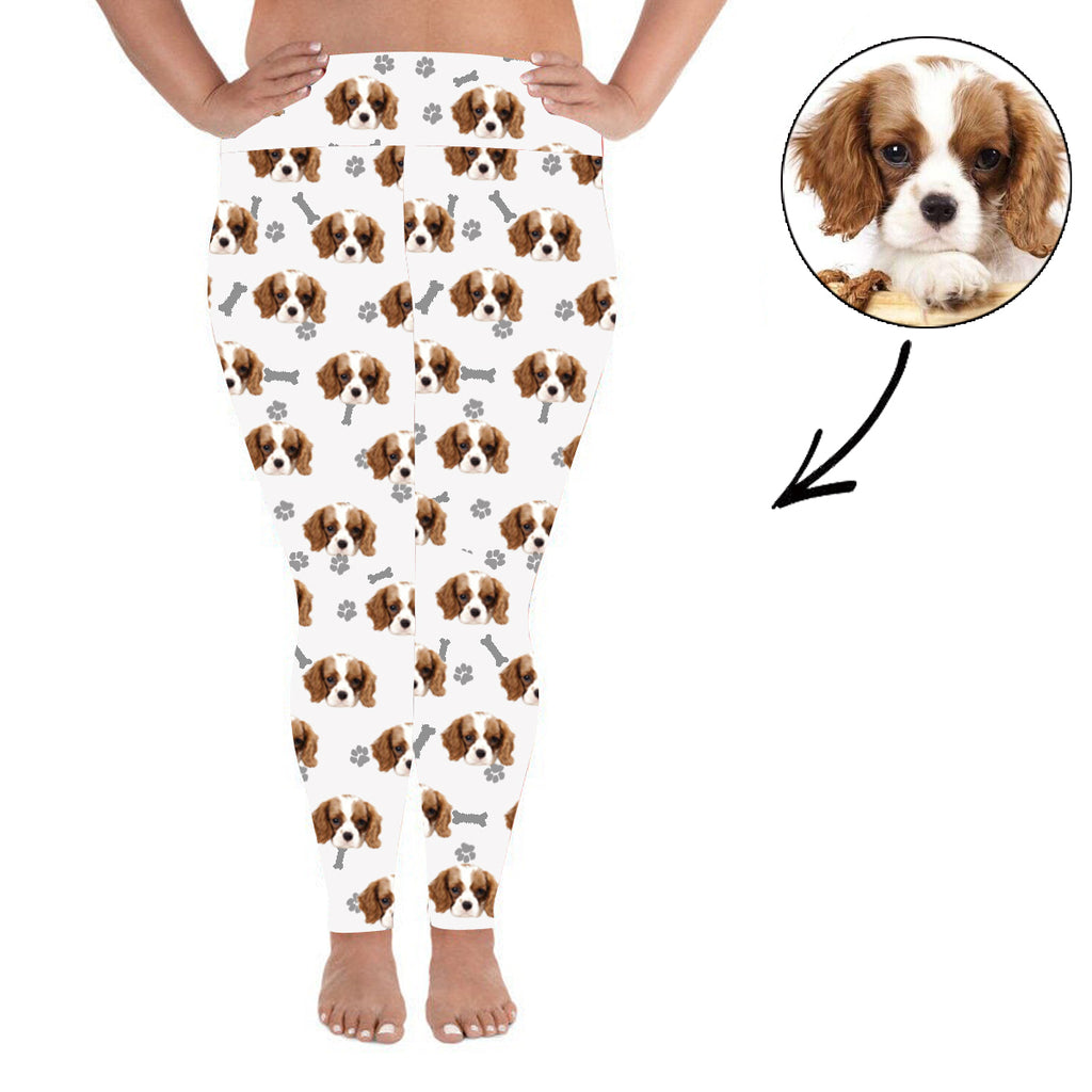 Custom Photo Leggings Dog Footprint Personalized Face Leggings Plus Size White - Make Custom Gifts