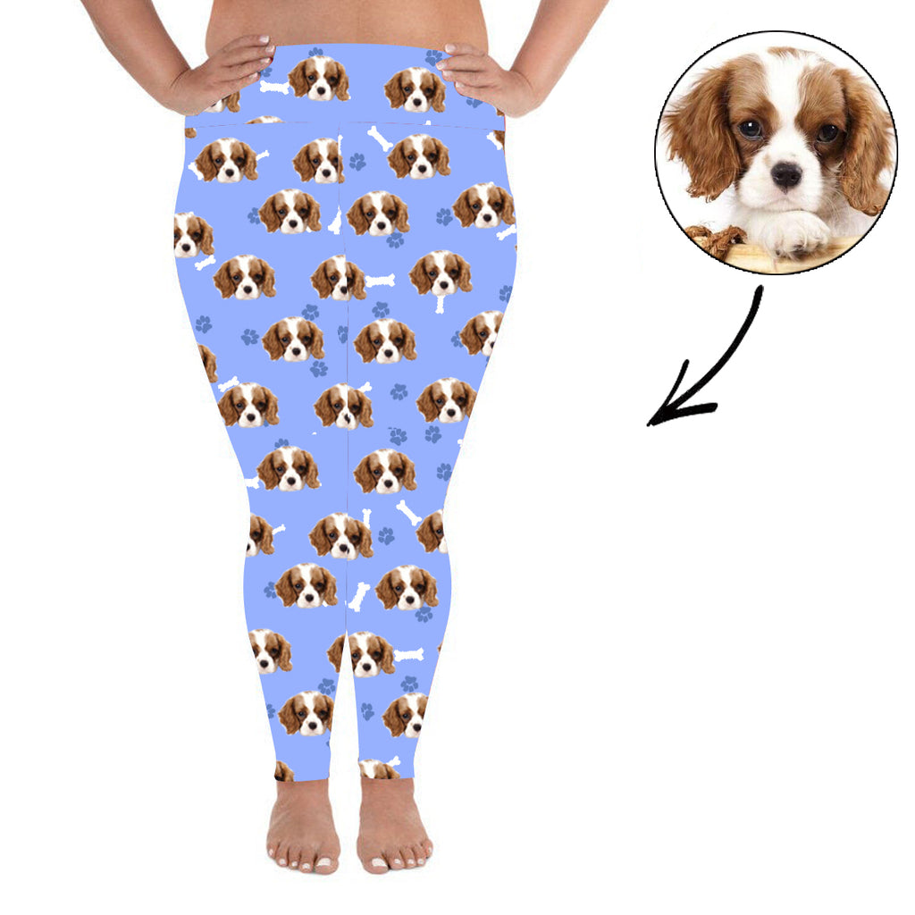 Custom Photo Leggings Dog Footprint Personalized Face Leggings Plus Size Blue - Make Custom Gifts
