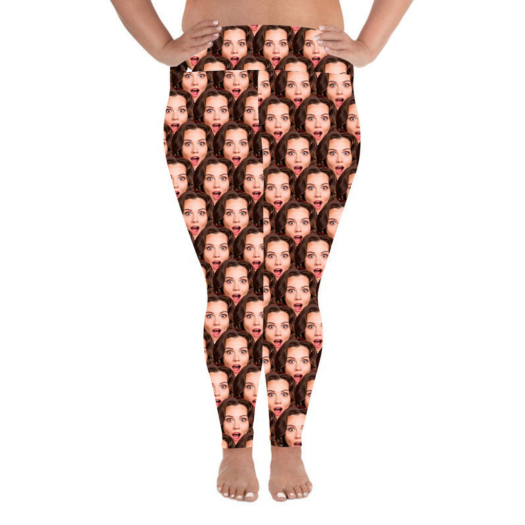 Custom Photo Leggings Mash Personalized Face Leggings Plus Size - Make Custom Gifts