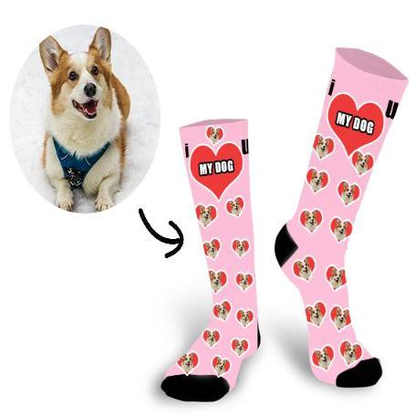 Custom Dog Face In The Heart Face Socks - Make Custom Gifts