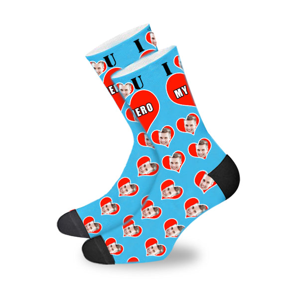 Custom My Hero Face In The Heart Face Socks - Make Custom Gifts
