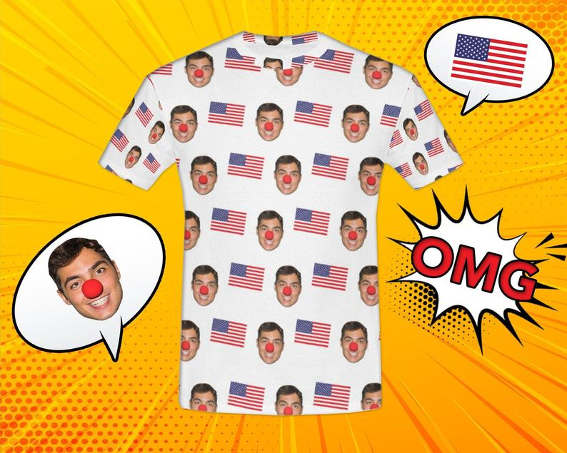Custom American Flags Face Shirt - Make Custom Gifts