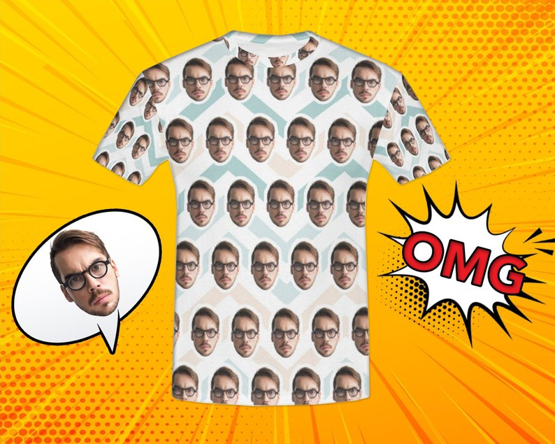 Custom Overlapping Curve Face Shirt - Make Custom Gifts