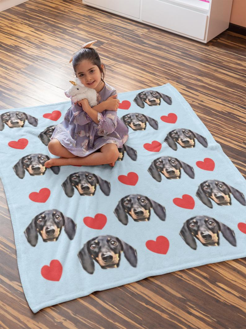 Custom Photo Blanket Heart Blue - Make Custom Gifts