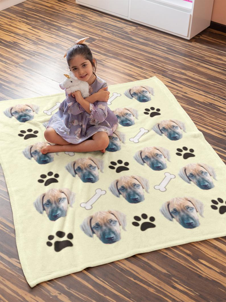Custom Photo Blanket Dog Footprint Yellow - Make Custom Gifts