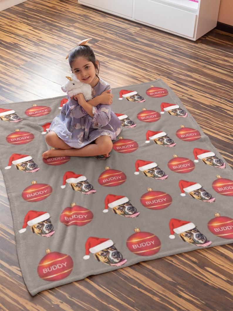 Custom Photo Blanket Santa Face Grey - Make Custom Gifts