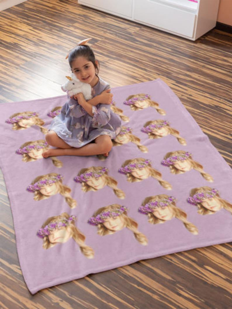 Custom Photo Blanket With Face Purple - Make Custom Gifts