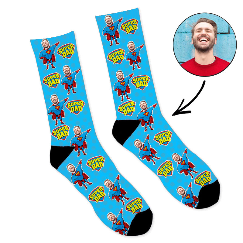 Custom Face Socks Super Hero Dad Photo Socks - Make Custom Gifts