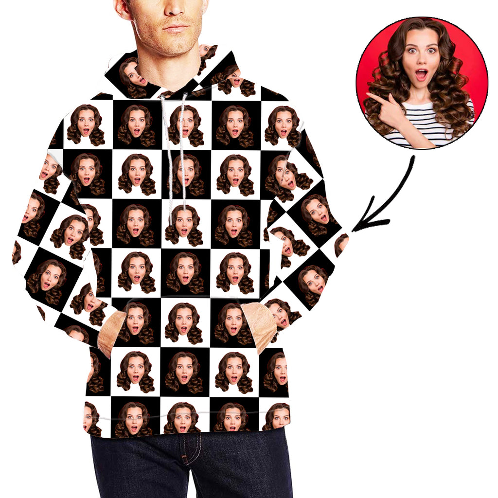 Custom Photo Hoodie Black And White Face Hoodie For Men