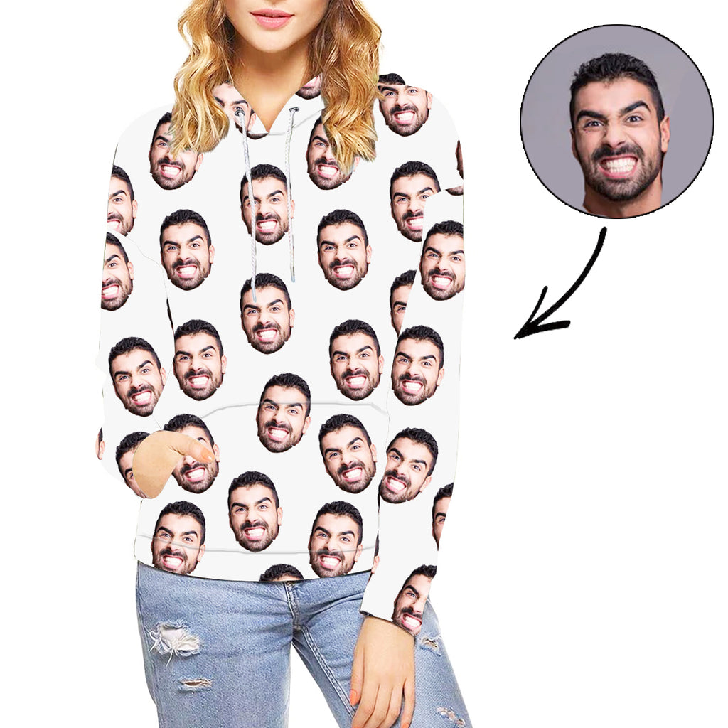 Custom Photo Hoodie White Face Hoodie For Women