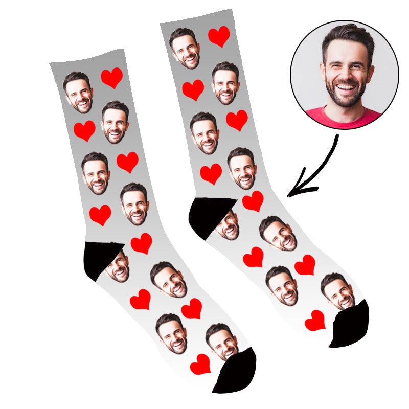 Custom Face Socks Gradient  Heart Grey - Make Custom Gifts