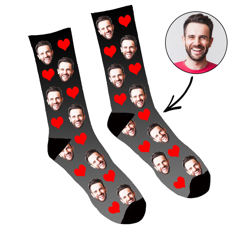 Custom Face Socks Gradient Heart Black - Make Custom Gifts