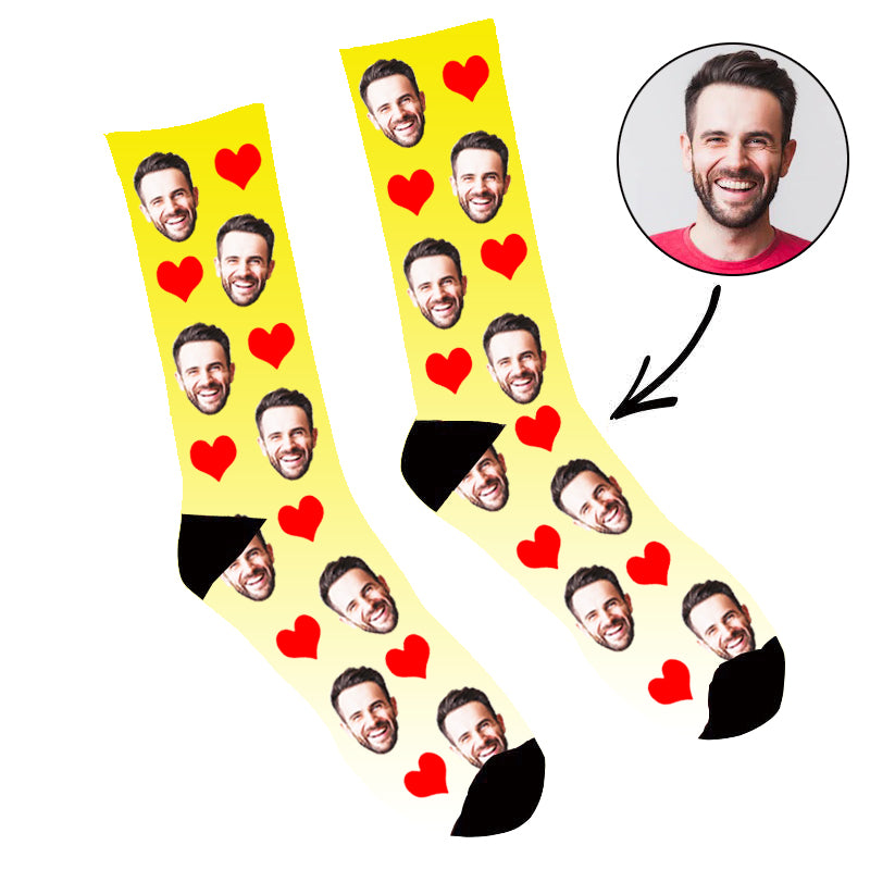 Custom Face Socks Gradient Heart Yellow - Make Custom Gifts