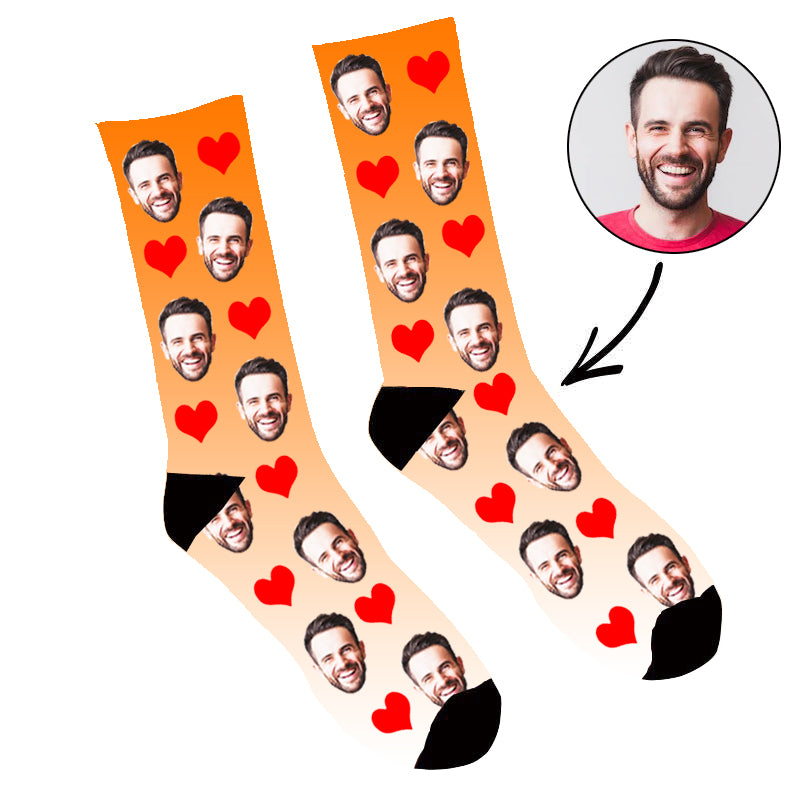 Custom Face Socks Gradient Heart Orange - Make Custom Gifts