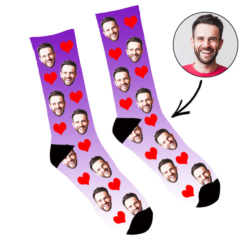 Custom Face Socks Gradient Heart Purple - Make Custom Gifts