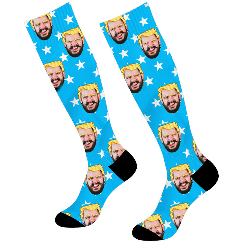 Custom Face Soccer Socks Trump's Hair Knee High - Make Custom Gifts
