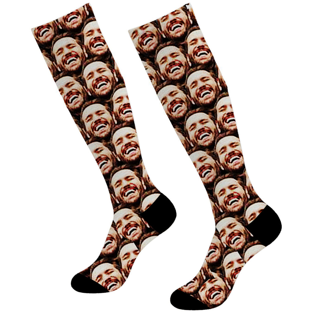 Custom Mash Face  Socks 3 For 2 Knee High - Make Custom Gifts