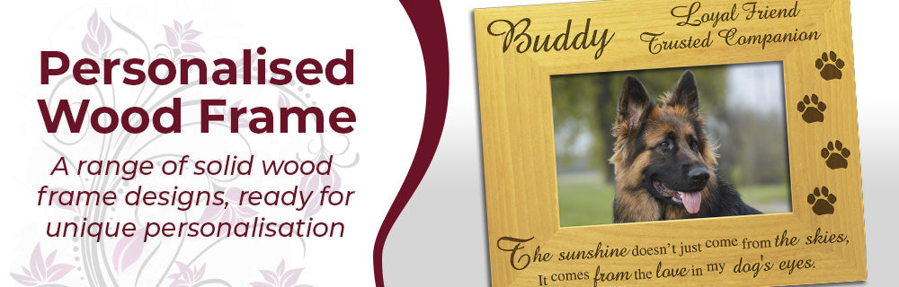 Personalised Wood Photo Frame Gifts - Stunning Personalised Designs on Solid Wood Photo Frames