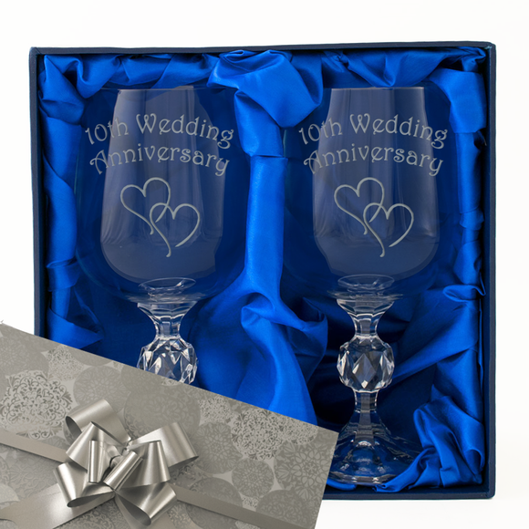 10th Wedding Anniversary - Engraved Pair of Wine Goblets - engraving-gallery.com