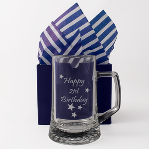 21st - Happy 21st Birthday - Engraved Tankard Beer Pint Glass - engraving-gallery.com
