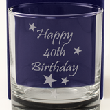 Happy 40th Birthday - Engraved Whisky Tumbler Glass - engraving-gallery.com