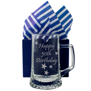 50th - Happy 50th Birthday - Engraved Tankard Beer Pint Glass - engraving-gallery.com