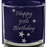 Happy 50th Birthday - Engraved Whisky Tumbler Glass - engraving-gallery.com
