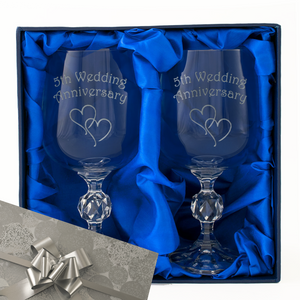 5th Wedding Anniversary - Engraved Pair of Wine Goblets - engraving-gallery.com