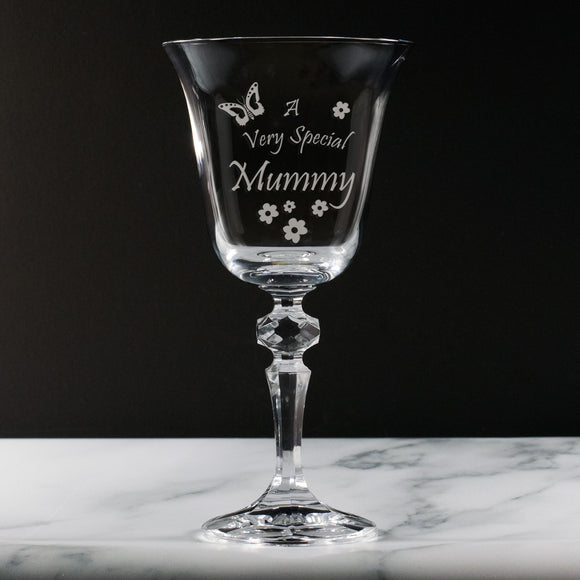 Mummy - A Very Special  Mummy - Engraved 24% Lead Crystal Wine Glass - engraving-gallery.com