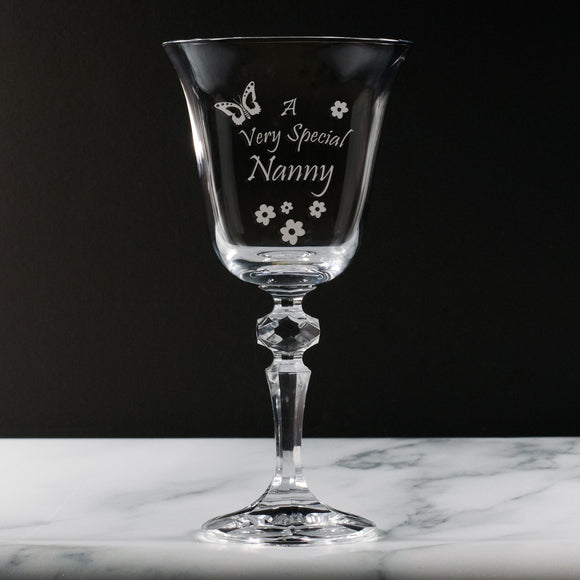Nanny - A Very Special  Nanny - Engraved 24% Lead Crystal Wine Glass - engraving-gallery.com