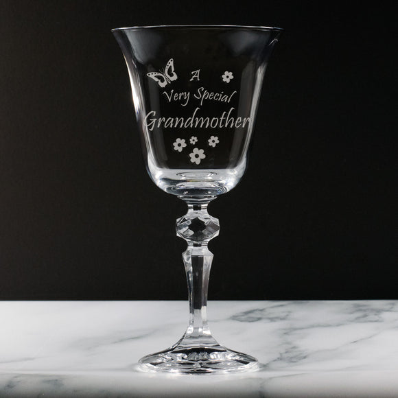 Grandmother -  A Very Special Grandmother - Engraved 24% Lead Crystal Wine Glass - engraving-gallery.com
