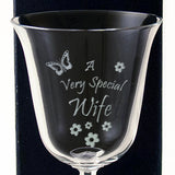 Wife - A Very Special  Wife - Engraved 24% Lead Crystal Wine Glass - engraving-gallery.com