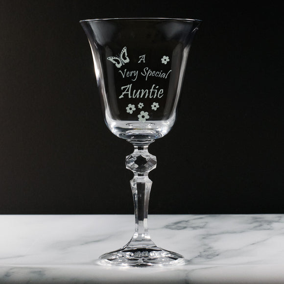 Auntie - A Very Special Auntie - Engraved Crystal Wine Glass