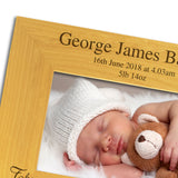 Newborn Baby Boy, Personalised Wood Photo Frame landscape closeup - engraving-gallery.com