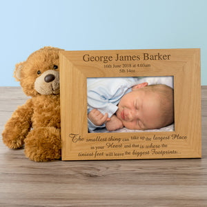 Newborn Baby Boy, Personalised Wood Photo Frame landscape - engraving-gallery.com