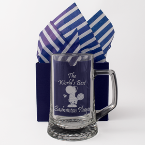 Badminton - The World's Best Badminton Player - Engraved Tankard Beer Pint Glass - engraving-gallery.com