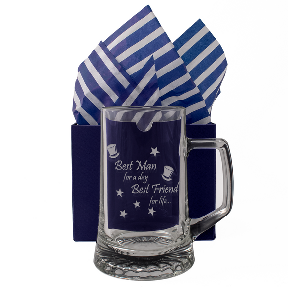 Best Man For A Day, Best Friend For Life - Engraved Tankard Beer Pint Glass - engraving-gallery.com